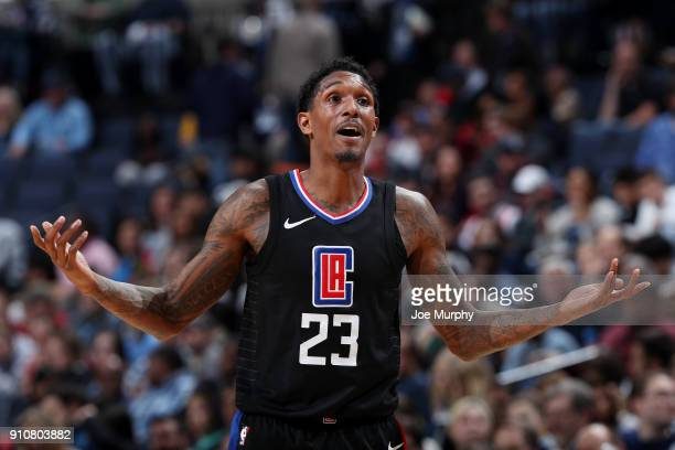 Lou Williams of the LA Clippers reacts during the game against the Memphis Grizzlies on January 26 2018 at FedExForum in Memphis Tennessee NOTE TO...