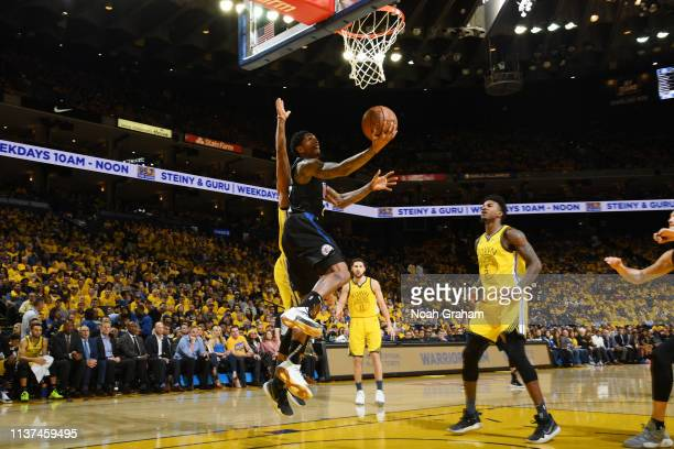 Lou Williams of the LA Clippers shoots the ball against the Golden State Warriors during Game Two of Round One of the 2019 NBA Playoffs on April 15...