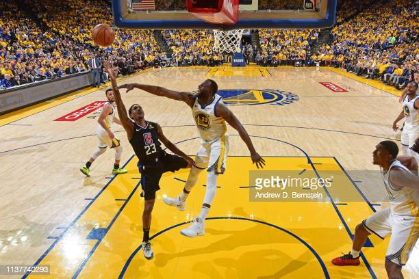Lou Williams of the LA Clippers shoots the ball against the Golden State Warriors during Game One of Round One of the 2019 NBA Playoffs on April 13...