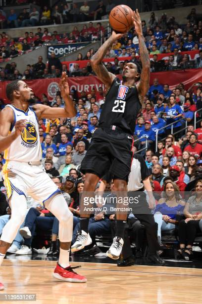 Lou Williams of the LA Clippers shoots the ball against the Golden State Warriors during Game Six of Round One of the 2019 NBA Playoffs on April 26...