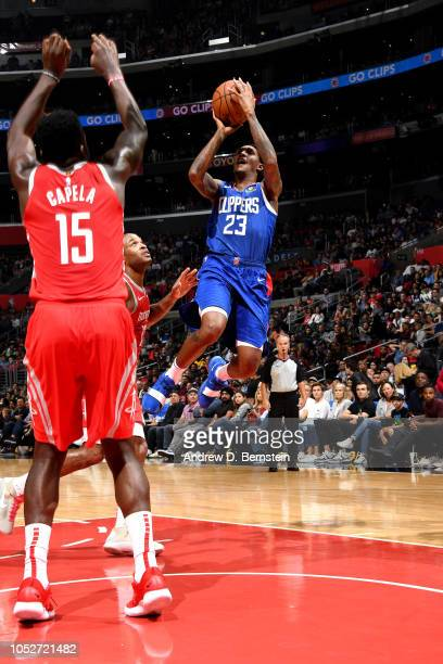 Lou Williams of the LA Clippers shoots the ball against the Houston Rockets on October 21 2018 at Staples Center in Los Angeles California NOTE TO...