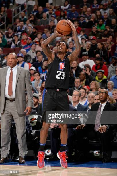 Lou Williams of the LA Clippers shoots the ball against the Philadelphia 76ers at Wells Fargo Center on February 10 2018 in Philadelphia Pennsylvania...