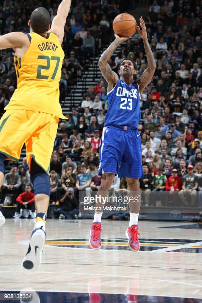 Lou Williams of the LA Clippers shoots the ball during the game against the Utah Jazz on January 20 2018 at Vivint Smart Home Arena in Salt Lake City...