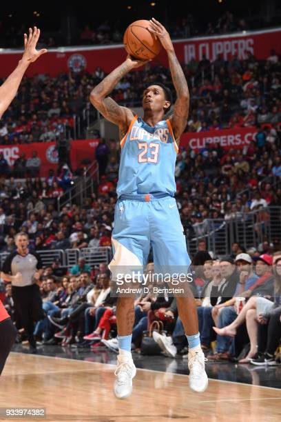 Lou Williams of the LA Clippers shoots the ball during the game against the Portland Trail Blazers on March 18 2018 at STAPLES Center in Los Angeles...