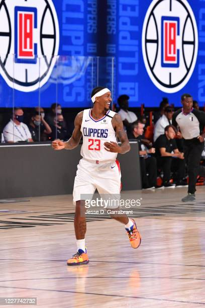 Lou Williams of the LA Clippers smiles during a scrimmage against the Orlando Magic on July 22, 2020 at The Arena at ESPN Wide World of Sports in...