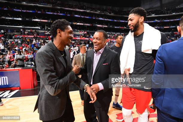Lou Williams of the LA Clippers speaks to Head Coach Alvin Gentry and Anthony Davis of the New Orleans Pelicans after the game on April 9 2018 at...