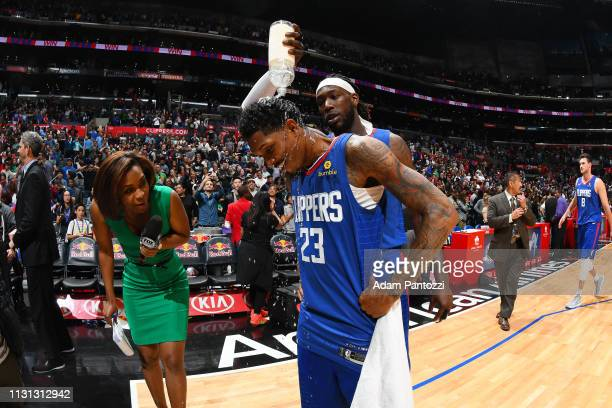 Lou Williams of the LA Clippers speaks with the media after the game against the Brooklyn Nets on March 17 2019 at STAPLES Center in Los Angeles...