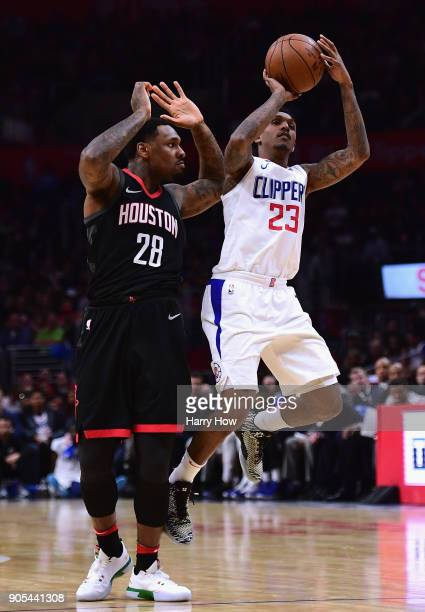 Lou Williams of the LA Clippers takes a shot after he is fouled by Tarik Black of the Houston Rockets during a 113102 Clipper win at Staples Center...