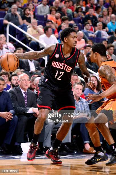 Lou Williams of the Houston Rockets handles the ball during the game against the Phoenix Suns on April 2 2017 at US Airways Center in Phoenix Arizona...