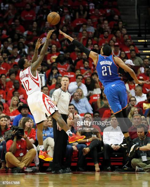 Lou Williams of the Houston Rockets takes a jump shot defended by Andre Roberson of the Oklahoma City Thunder in the second half of Game Two of the...
