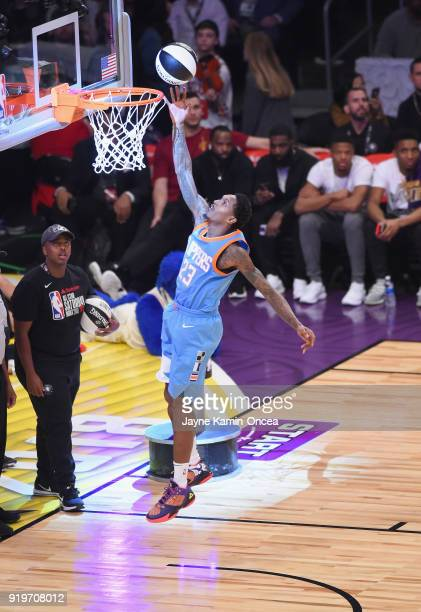 Lou Williams of the Los Angeles Clippers competes in the 2018 Taco Bell Skills Challenge at Staples Center on February 17 2018 in Los Angeles...