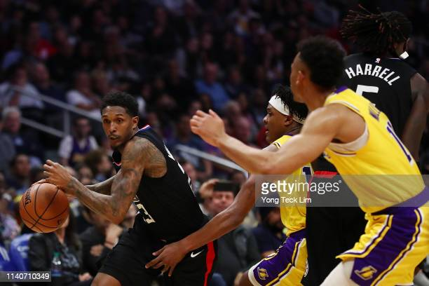 Lou Williams of the Los Angeles Clippers drives against Jemerrio Jones of the Los Angeles Lakers during the second half at Staples Center on April 05...