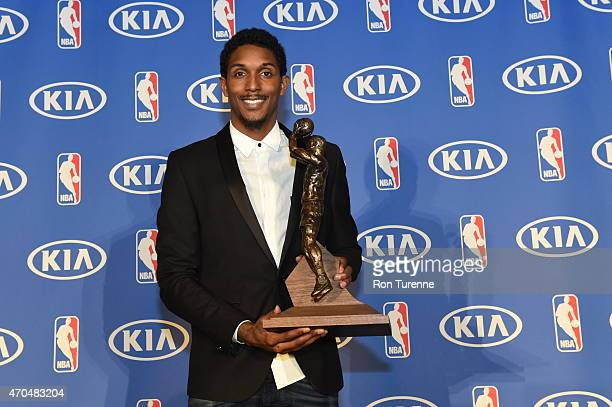 April 20: Lou Williams of the Toronto Raptors Receives the Kia Sixth Man Award in Toronto, Ontario, Canada. NOTE TO USER: User expressly acknowledges...