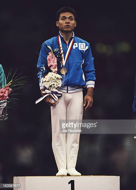 Lou Yun of China with his gold medal for winning the Men's Horse Vault on 24th September 1988 during the XXIV Summer Olympic Games at the Olympic...