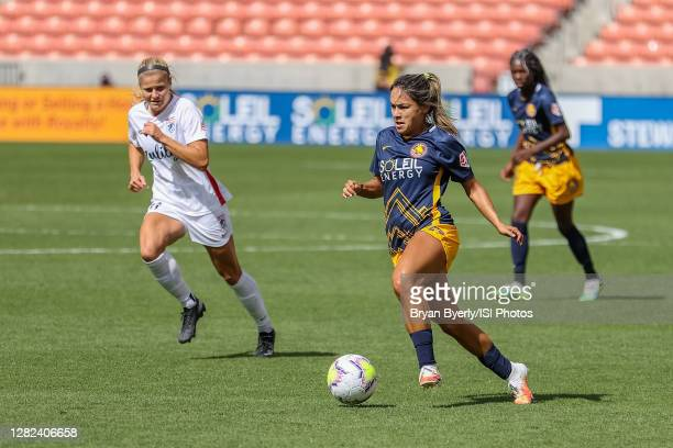 "Lo""u2019eau LaBonta of Utah Royals FC plays the ball during a game between OL Reign and Utah Royals FC at Rio Tinto Stadium on September 26, 2020 in..."
