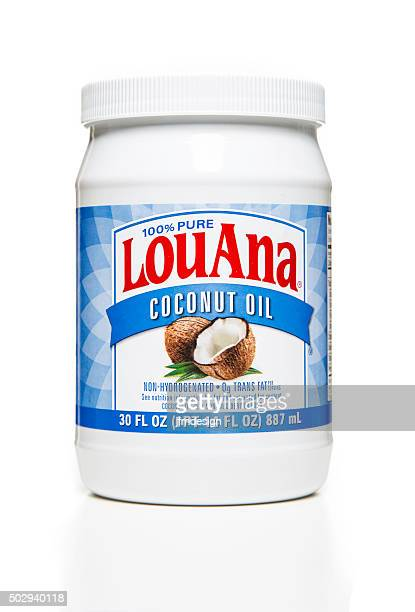 louana 100% pure coconut oil jar - coconut oil stock pictures, royalty-free photos & images