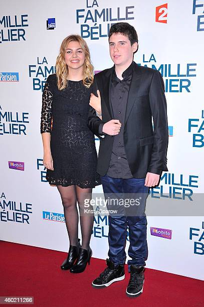 Louane Emera and Luca Gelberg attend the 'La Famille Belier' Paris Premiere at Le Grand Rex on December 9 2014 in Paris France