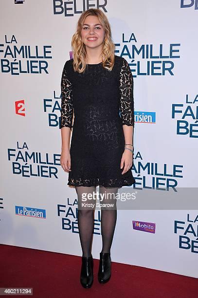 Louane Emera attends the 'La Famille Belier' Paris Premiere at Le Grand Rex on December 9, 2014 in Paris, France.