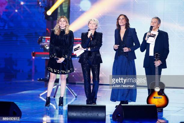 Louane Sophie Davant Zazie and Nagui perform on stage during the 31st France Television Telethon at Pavillon Baltard on December 9 2017 in...