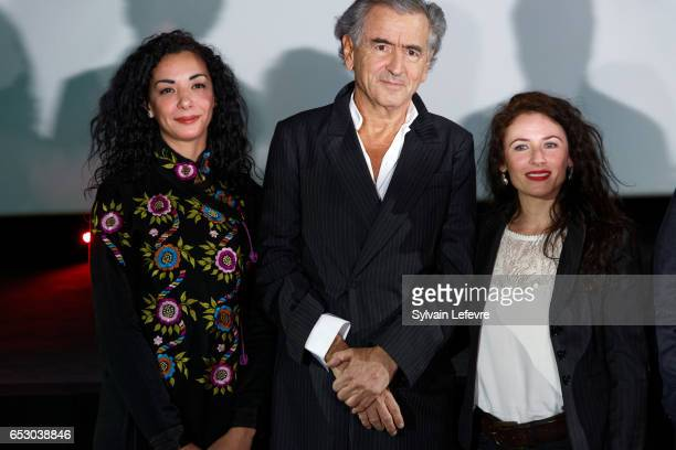 Loubna Abidar BernardHenri Levy and Elsa Lunghini attend opening ceremony of Valenciennes Cinema Festival on March 13 2017 in Valenciennes France