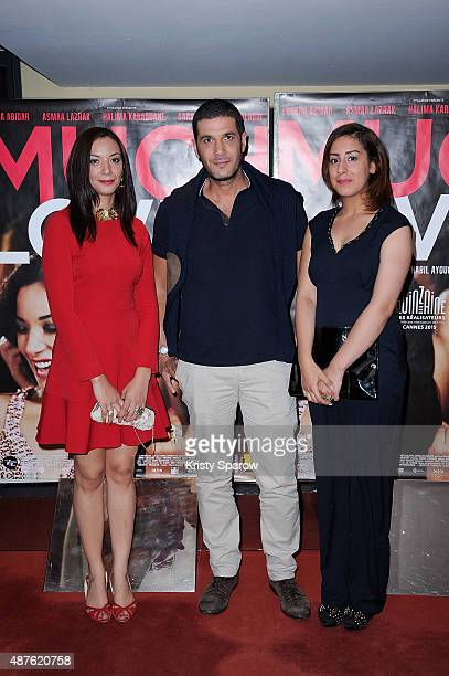 Loubna Abidar Nabil Ayouch and Sara Elhamdi Elalaoui attend the 'Much Loved' Paris Premiere at UGC Cine Cite Les Halles on September 10 2015 in Paris...