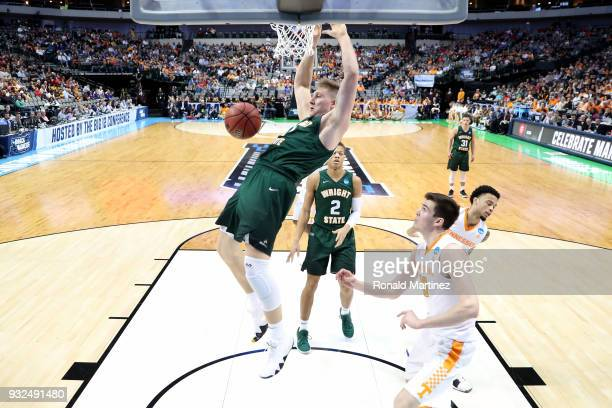 Loudon Love of the Wright State Raiders dunks the ball in the second half against the Tennessee Volunteers in the first round of the 2018 NCAA Men's...