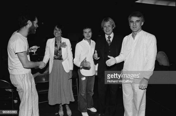 Loudon Wainright III Joan Baez Billy Crystal Martin Mull and Steve Martin at The San Francisco Civic Center in 1977 in San Francisco California