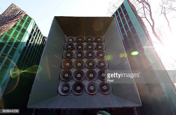 A loudspeaker is seen at a military base near the border between South Korea and North Korea on January 8 2016 in Yeoncheon South Korea South Korea...
