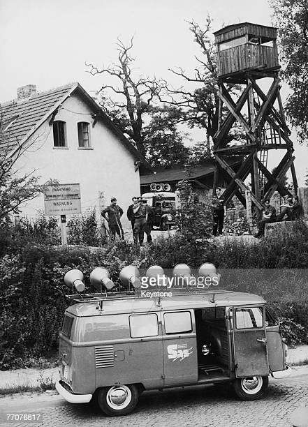 A loudspeaker van from the West Berlin organisation SAS arrives at the Berlin Wall where a new section is being built 23rd July 1962 Shortly after...