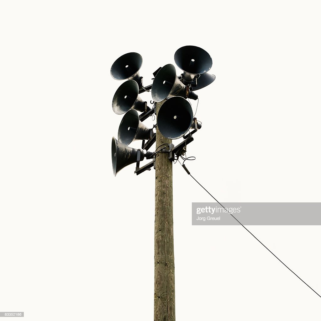 Loudspeakers on a pole : Stock Photo