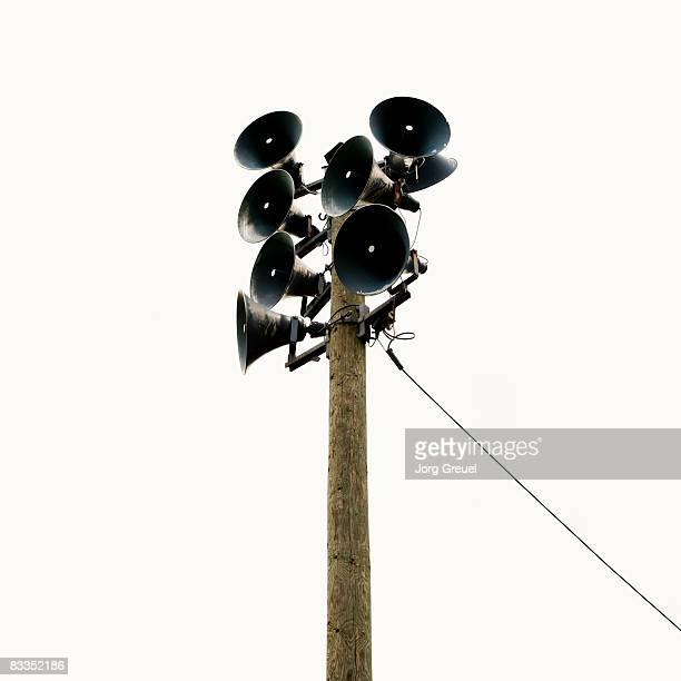 loudspeakers on a pole - megaphone stock pictures, royalty-free photos & images