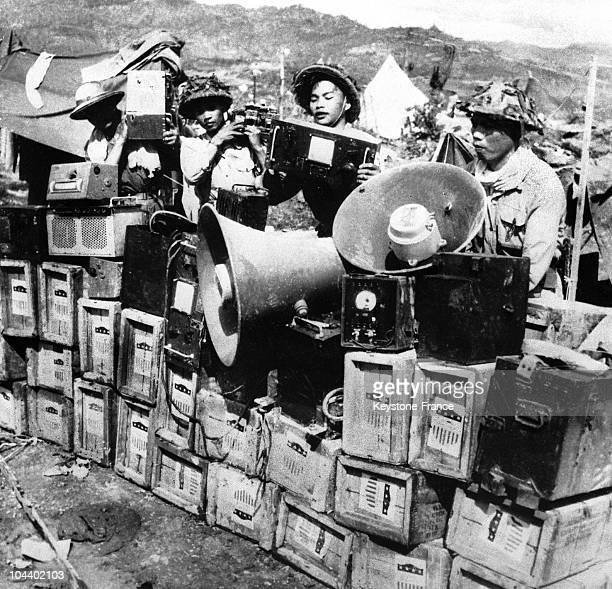 Loudspeakers urge the French to give up during the Battle of DIEN BIEN PHU in 1954.