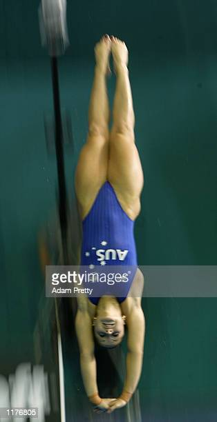 Loudy Tourky of Australia on her way to winning the Gold medal in the Women's 10m Highboard Diving event at the Manchester Aquatics Centre during the...