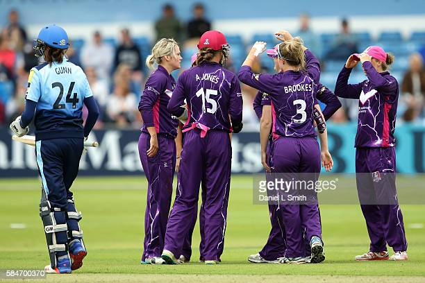 Loughborough celebrate the dismissal of Jenny Gunn of Yorkshire during the inaugural Kia Super League women's cricket match between Yorkshire...