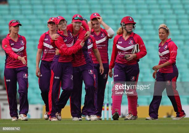 Loughborough Lightning celebrate victory by 81 runs at the end of the Kia Super League 2017 match between Surrey Stars and Loughborough Lightning at...