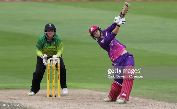 Loughborough Lightning's Amy Jones batting during the Kia Super League match at Edgbaston