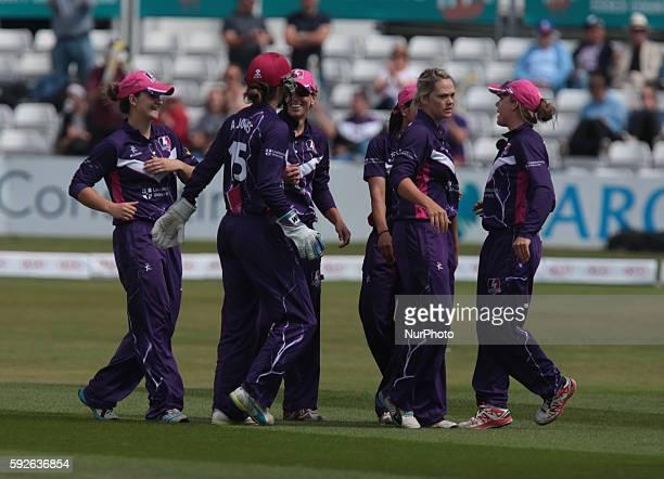 Loughborough Lightning's Dane van Nierkerk celebrates the wicket of Western Storm's Rachel Priest during Women's Cricket Super League Semi_Final...