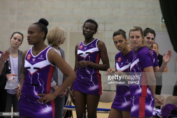 Loughborough Lightning's Phumza Maweni stands dejected along with her teammates following their defeat