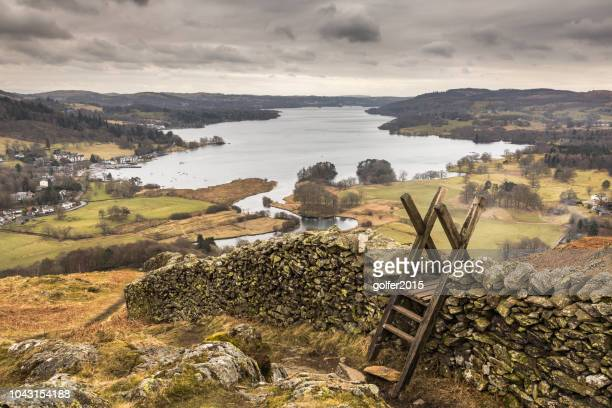 loughrigg fell - lake district - ambleside stock photos and pictures