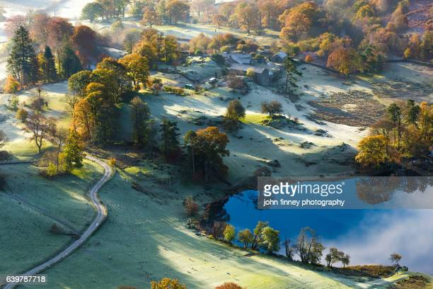 Loughrigg tarn autumn light and frost. Lake District National park. UK.