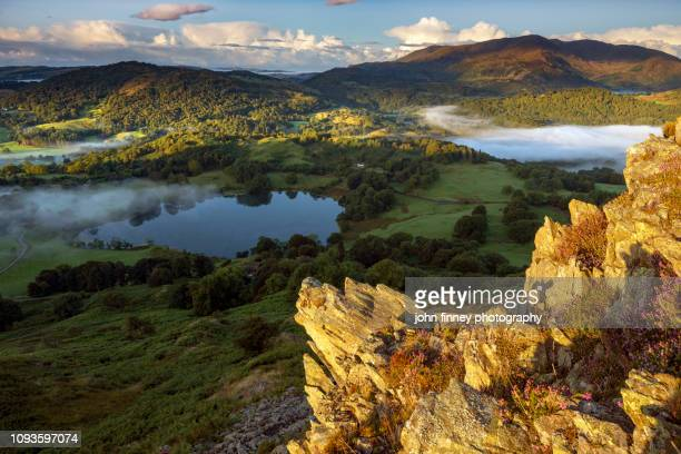 loughrigg tarn summer sunrise, ambleside, lake district, uk - keswick stock photos and pictures