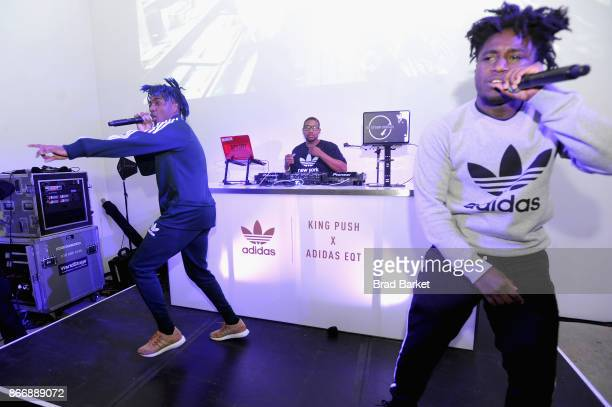 Lougotcash performs at the Launch Of Pusha T's Latest Collaboration With adidas Originals KING PUSH X ADIDAS ORIGINALS EQT 'BODEGA BABIES' on October...