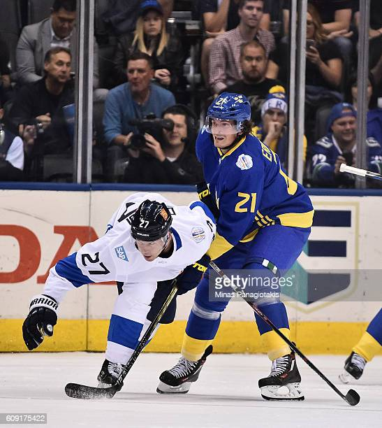 Loui Eriksson of Team Sweden collides with Joonas Donskoi of Team Finland during the World Cup of Hockey 2016 at Air Canada Centre on September 20...