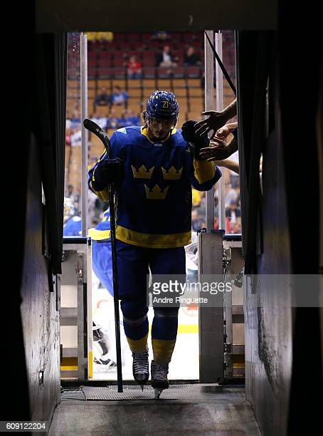 Loui Eriksson of Team Sweden leaves the ice after warm up prior to a game against Team Finland during the World Cup of Hockey 2016 at Air Canada...