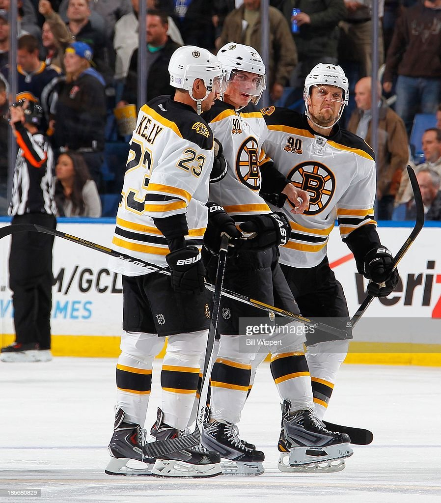 Loui Eriksson #21 of the Boston Bruins is helped off the ice by teammates Chris Kelly #23 and Dennis Seidenberg #44 after being injured in the game against the Buffalo Sabres on October 23, 2013 at the First Niagara Center in Buffalo, New York. Boston defeated Buffalo, 5-2.