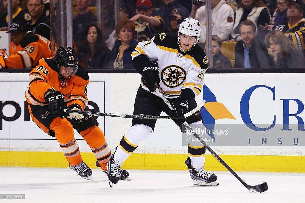 official photos 5d600 b8edd Loui Eriksson of the Boston Bruins skates against Jakub ...