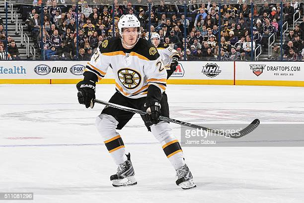Loui Eriksson of the Boston Bruins skates against the Boston Bruins on February 16 2016 at Nationwide Arena in Columbus Ohio
