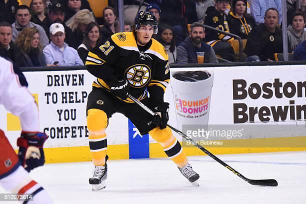 Loui Eriksson of the Boston Bruins skates against the Columbus Blue Jackets at the TD Garden on February 22 2016 in Boston Massachusetts