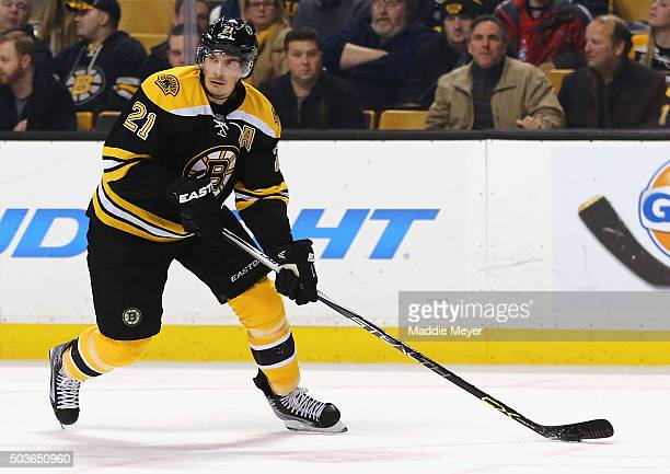 Loui Eriksson of the Boston Bruins skates against the Washington Capitals during the second period at TD Garden on January 5 2016 in Boston...