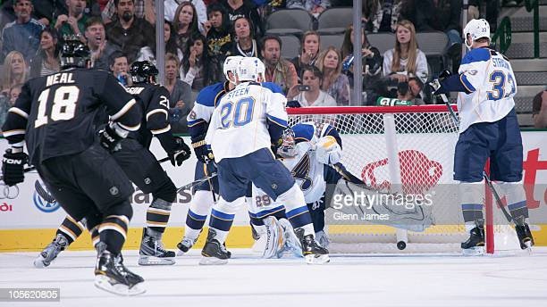 Loui Eriksson of the Dallas Stars scores a goal against Ty Conklin of the St Louis Blues on October 16 2010 at the American Airlines Center in Dallas...